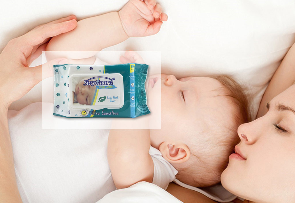 StayGuard Skin and Wound Care baby wipes